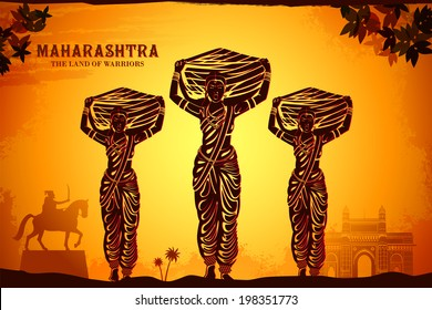 illustration depicting the culture of Maharashtra, India