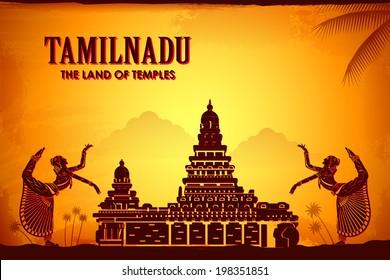 illustration depicting the culture of Tamilnadu, India