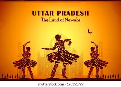 illustration depicting the culture of Uttar Pradesh, India
