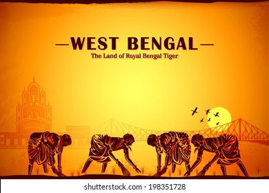illustration depicting the culture of West Bengal, India
