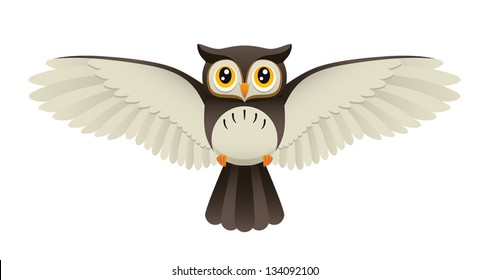 An Illustration depicting a cute owl flying. Eps 8 Vector.