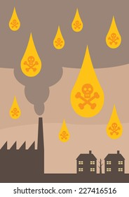 An  illustration depicting the effects of toxic air pollution on the environment,  in the form of Acid Rain.