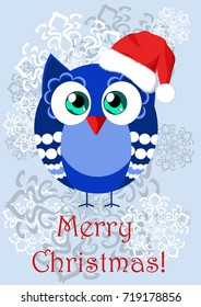 Illustration depicting a funny cartoon owl in Santa's cap, congratulate on Christmas