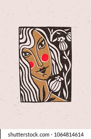 Illustration depicting a girl and flowers in a technique of linocut. Can be used as a stamp on clothing, postage stamp, postcard