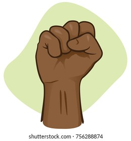 Illustration depicting the hand of a person closed, showing a closed or closed fist, punch. African descent