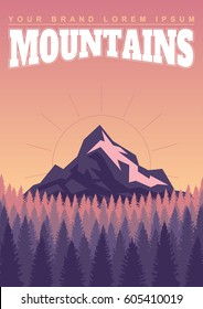 illustration depicting a landscape of mountains and forests. Vector graphics. Travel and camping background. Rest in the open air.