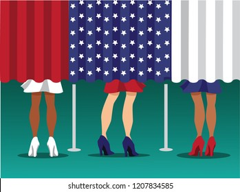 Illustration depicting multicultural women voting at a voting booth or polling place. Eps10 vector.