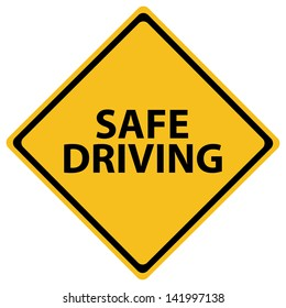 Illustration depicting a road sign with a safe driving concept.