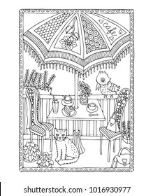 Illustration depicting terrace of French café culture. Hand drawn picture. Sketch for anti-stress adult coloring book in zen-tangle style. It may be used for design of a postcard or a poster.