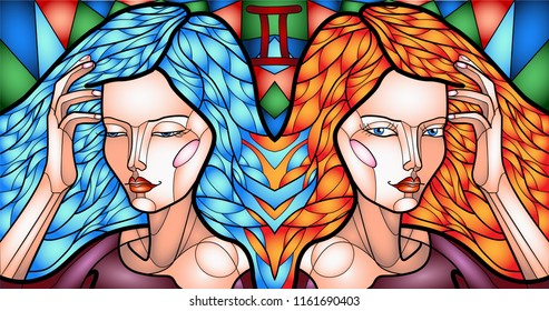 an illustration depicting two twin girls executed in the style of Stained Glass, personifies the sign of the zodiac Gemini