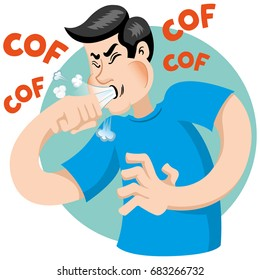 Illustration depicts a character Bob Caucasian man with cough symptoms. Ideal for health and institutional information