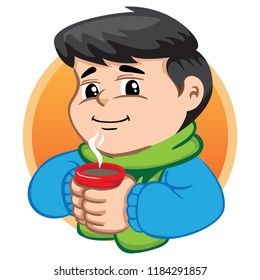 Illustration depicts a child character drinking hot drink with winter clothes. Ideal for health and institutional information