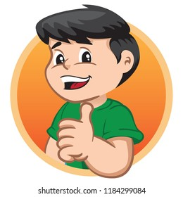 Illustration depicts a child character making okay sign. Ideal for health and institutional information