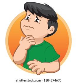 Illustration depicts a child character with sore throat, symptom of illness. Ideal for health and institutional information