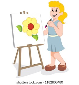 Illustration depicts a girl painting on a fabric with watercolor. Ideal for health and institutional information