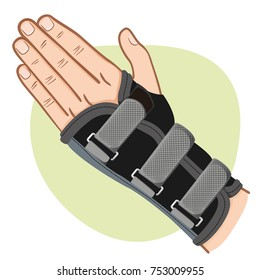 Illustration depicts a hand with wrist, tendinitis, Caucasian. Ideal for training and institutional materials