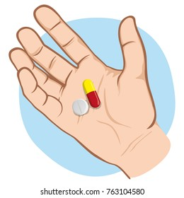 Illustration depicts an open human hand with medicines in the palm of the sample, Caucasian. Ideal for catalogs of institutional and medical material