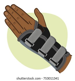 Illustration depicts a wrist hand, tendonitis, afrodescendent. Ideal for training and institutional materials