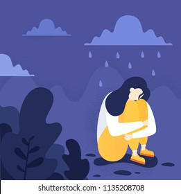 An illustration of a depressed person sitting on the floor. Mental health, including PTSD and suicide prevention