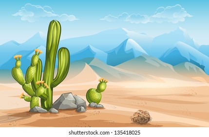 Illustration of desert with cactus on a background of mountains.