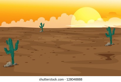 Illustration of a desert with cactus plants