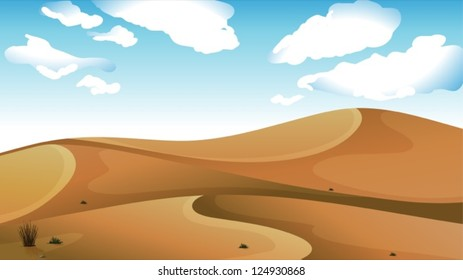 Illustration of a desert with a clear blue sky