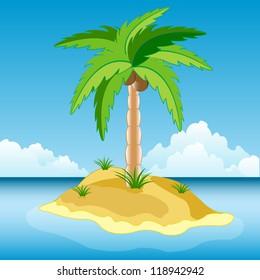 Illustration of the desert island in ocean