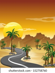 Illustration of a desert with a long and winding road