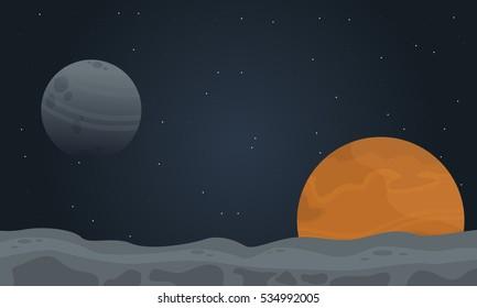 Illustration of desert planet outer space landscape