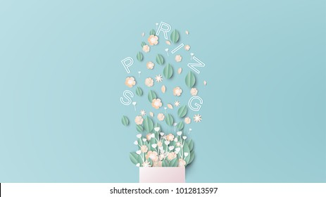 illustration of design bouquet with spring text. bouquet of flowers and text placed on a blue background in spring season. paper cut and craft style. vector, illustration.