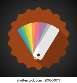 Illustration of Design Color Guide Fan Flat Vector Icon with long shadow