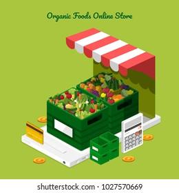 Illustration design concept healthy foods online store as fresh fruits and fresh vegetables on Mobile. Vector set banner template.