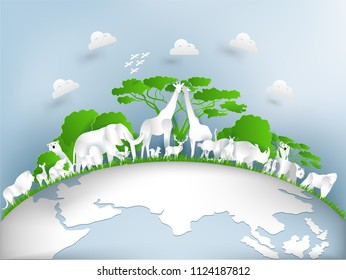illustration design concept of world wildlife day , Concept Important dates on animals and the environment ,Animals, earth and nature in paper art style, origami of wildlife