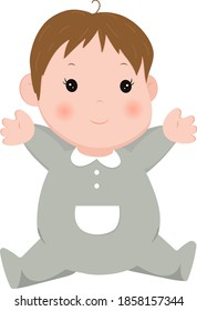 Illustration design of dressed cute baby with a smile.
