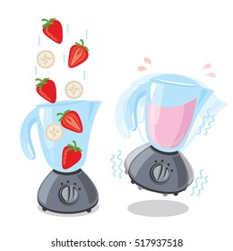 Illustration for design fast food menu.Organic raw strawberry and banana shake. Food processor, mixer, blender and fruit. Hand drawn illustration.