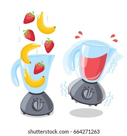 Illustration for design fast food menu.Organic raw strawberry and banana shake. Food processor, mixer, blender and fruit. Vector smoothie illustration.