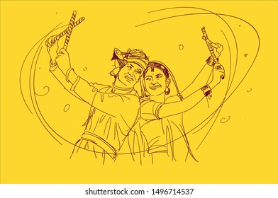 illustration design of Indian couple playing Garba in Dandiya Night Navratri Dussehra festival of India