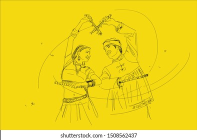 illustration design of Indian couple playing Garba in Dandiya Night Navratri Dussehra festival of India on yellow background