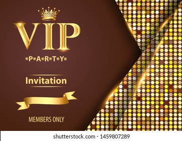 Illustration design invitations to the VIP party gold
