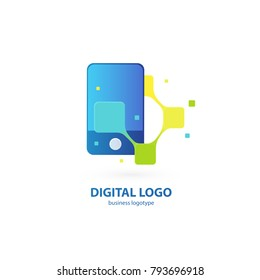 Illustration design of logotype business web marketing. Vector smartphone web icon. Logo design abstract digital technology vector template.