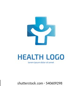 Illustration design of logotype cross health flat symbol colorful. Logo design abstract medical vector template