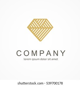 Illustration design of logotype luxury flat symbol. Logo design abstract diamond vector template