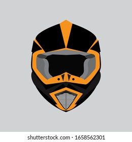 illustration of the design of motorcycle riders helmet in black and orange color