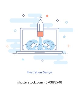 Illustration Design outline infographic illustration. Creative Symbol of Web or Graphic Design. Laptop and soaring pencil. Premium quality vector icon concept for Website Element or Apps.