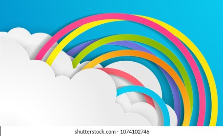 Illustration of design a rainbow on the sky in paper craft style. paper art design for clouds and rainbow in rain season. paper cut and craft design. vector, illustration.