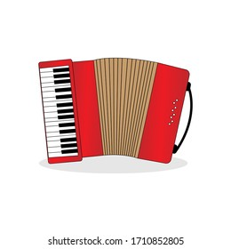 Illustration design of a red accordion musical instrument