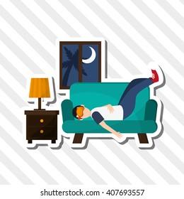 Illustration design of resting, editable vecctor