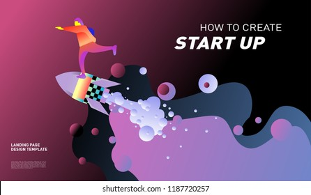 illustration design start company design template stock vector