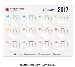 illustration Design Vector template of color 2017 calendar.