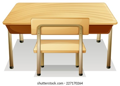 illustration of a desk and a chair
